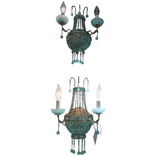 Italian Turquoise Opaline Wall Sconces For Sale