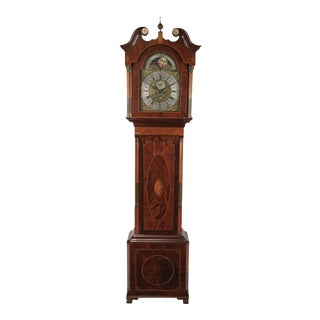 18th Century Chippendale Style Grandfather Clock With Moon Phases For Sale