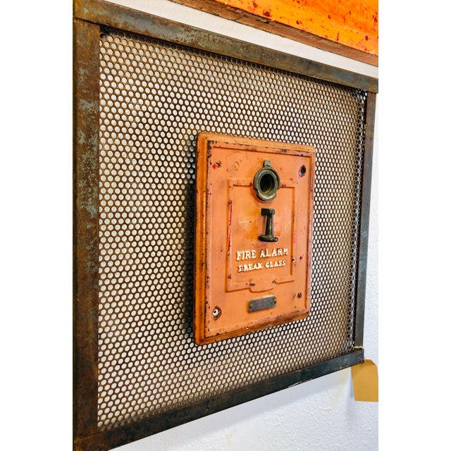 Americana Vintage Industrial Art Metal Wall Panel With Fire Department Alert Alarm Call Box For Sale - Image 3 of 6