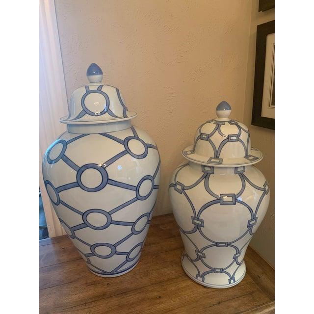Blue & White Porcelain Lover Locks Temple Jar For Sale - Image 12 of 13