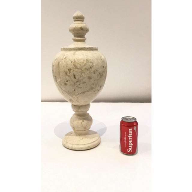 Modern Large Beige Marble Vessel/Urn With Finial Lid For Sale - Image 4 of 7