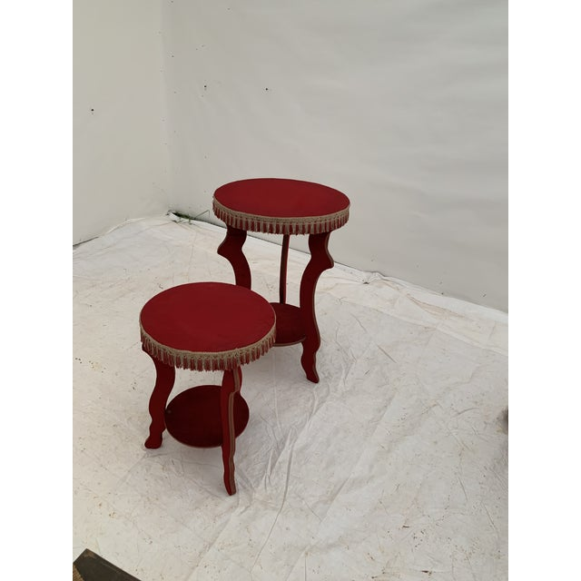 Textile 1970s Hollywood Regency Red Fringe Tables - a Pair For Sale - Image 7 of 8