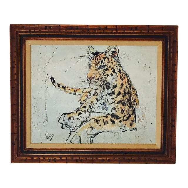 1970s Vintage Leopard Lithograph on Canvas - Image 1 of 10