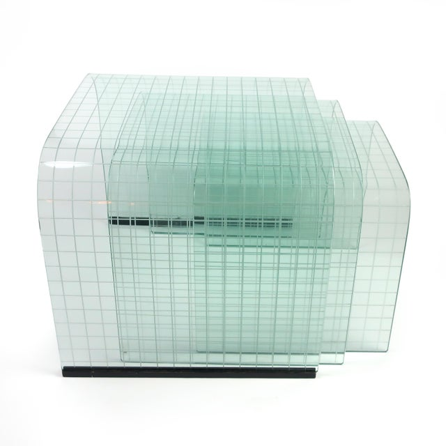 Transparent Etched Glass Waterfall Table by Angelo Cortesi for Fiam For Sale - Image 8 of 9