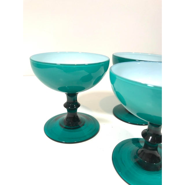 Glass Mid 20th Century Blue Opaline Champagne Coupe Glasses - Set of 3 For Sale - Image 7 of 8