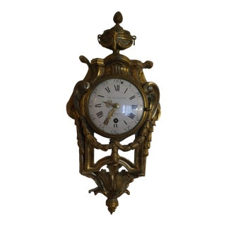 Antique French Brass Wall Clock For Sale