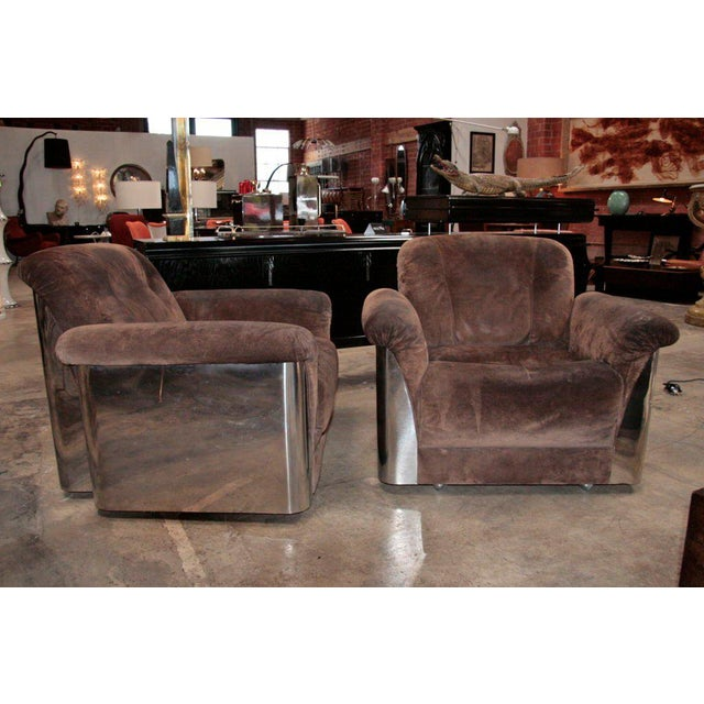 Italian Pair of Italian Leather Armchairs with Chromed Steel Bases For Sale - Image 3 of 9