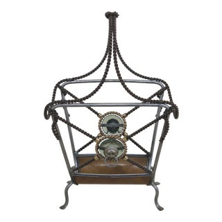 Wrought Iron Twisted Handle Magazine Rack For Sale