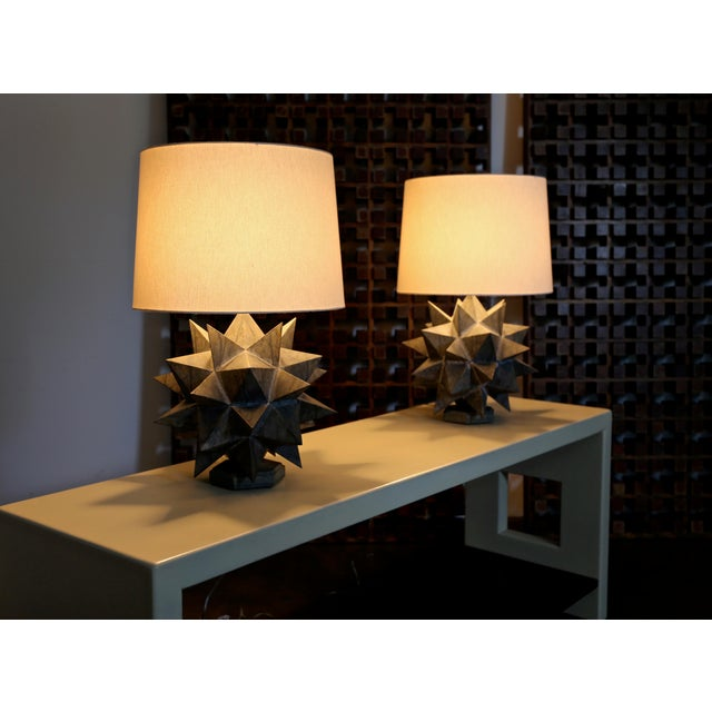 Metal Sculptural Metal Table Lamps, Circa 1965 - a Pair For Sale - Image 7 of 12