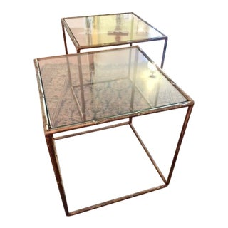 Faux Bamboo Metal Gold Gilt Cube Tables - A Pair