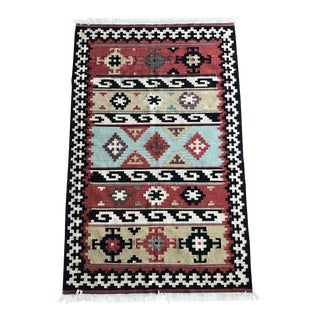 Vintage Indian Flat Weave Rug For Sale
