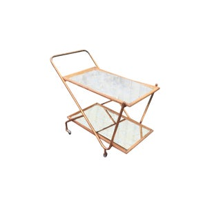 Italian Wood and Copper Bar Cart With Mirrored Trays C.1940's For Sale