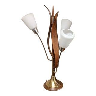 Mid-Century Modern Walnut Tulip Table Lamp For Sale