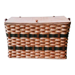 Handmade Authentic Amish Wicker Storage Basket For Sale