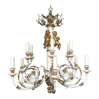 Italian 1940s Painted and Parcel-Giltwood Chandelier For Sale