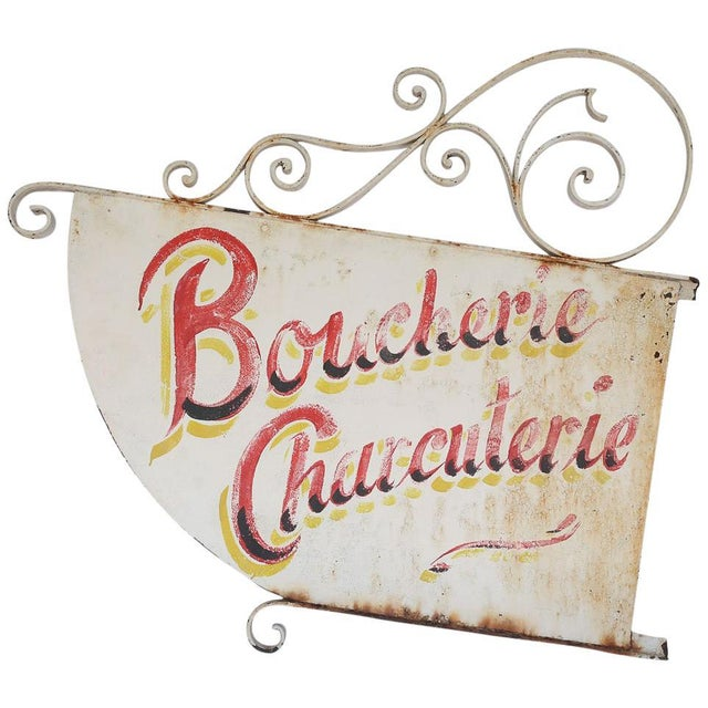 Metal Vintage French Boucherie Charcuterie Shop Sign For Sale - Image 7 of 7