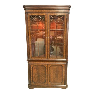 Maitland Smith Traditional Mahogany Corner Display Cabinet For Sale
