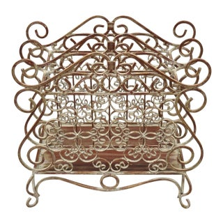Wrought Iron French Country Style Red Lattice and Flower Bouquet Magazine Rack For Sale