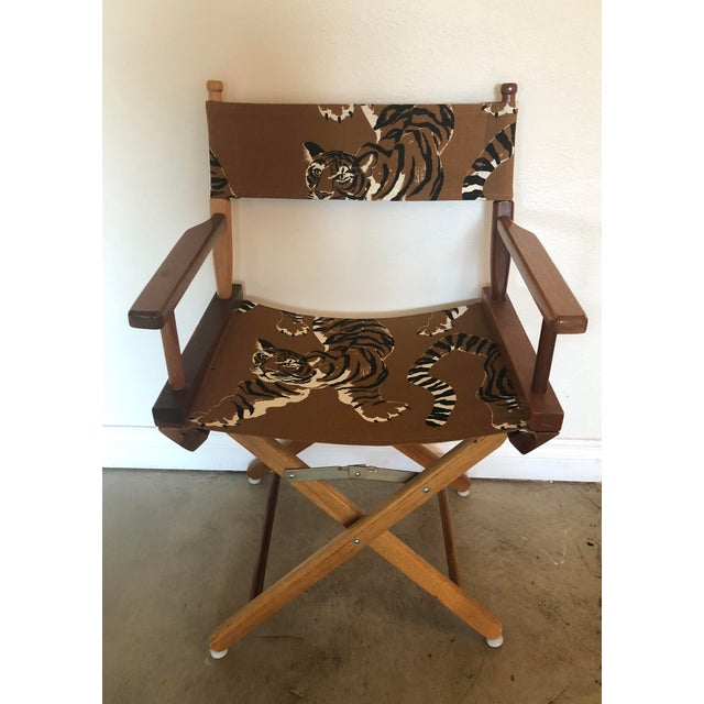 Vintage directors chair reupholstered with Kaufmann Le Tigre fabric in safari brown. Soil and stain repellent finish....