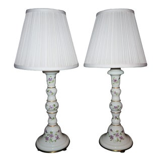 Pair - Vintage French Style Glass Hand Painted Table Lamps - Canterbury Lampshades - Rewired For Sale