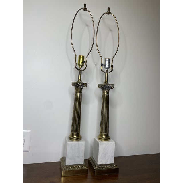 Neoclassical Mid Century Marble and Brass Lamps - a Pair For Sale - Image 3 of 11