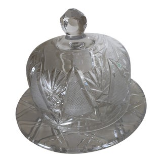 1950s Cut Crystal Cheese Butter Dish W/ Dome Lid For Sale