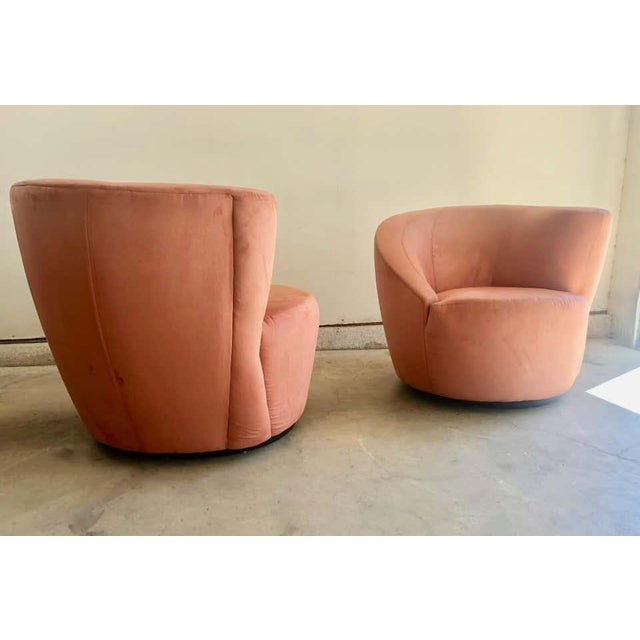 """Tangerine Vladimir Kagan for Directional """"Nautilus"""" Swivel Chairs - A Pair For Sale - Image 8 of 13"""