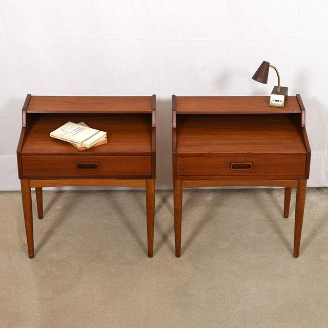 Mid 20th Century Arne Hovmand-Olsen for Mogens Kold Teak Nightstands - a Pair For Sale - Image 5 of 8