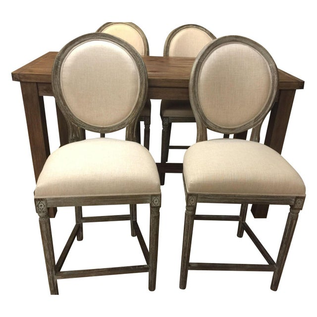 Off White Hand Painted Pub Chairs - 2 - Image 3 of 5