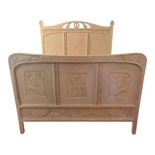 20th Century Art Nouveau Buttercream Full Size Bedframe For Sale