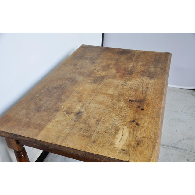 Vintage French Oak Farmhouse Dining Table For Sale - Image 9 of 12
