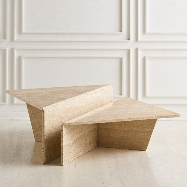 Tiered Travertine Coffee Tables - a Pair For Sale - Image 12 of 12