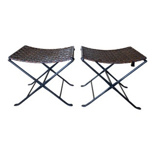 Alpine Chic Iron and Leather Benches- a Pair For Sale