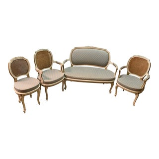 Louis XV Style Salon Four Piece, Pair Armchairs, Settee and Side Chair, Painted For Sale