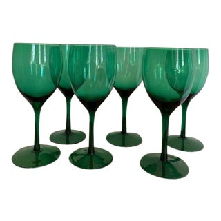 1960s Emerald Green Glass Stemware - Set of 6 For Sale