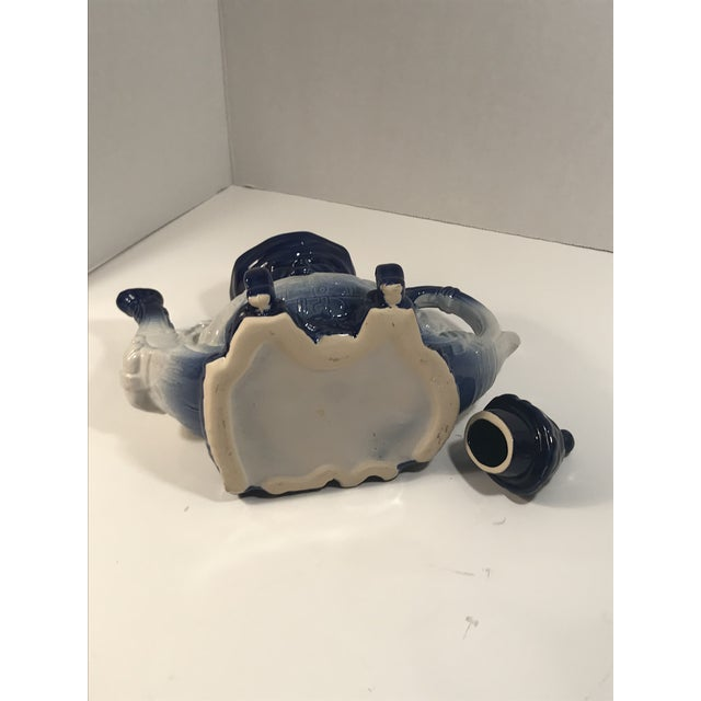 Antique Victorian Staffordshire Parliament Judge Flow Blue Toby Teapot For Sale In Charleston - Image 6 of 8