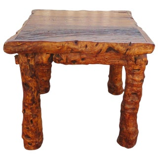 Early 19th Century Rustic Burl and Log Plank Top Table For Sale