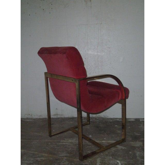 M. Baughman Cherry Velvet & Brass Chairs- A Pair - Image 7 of 8