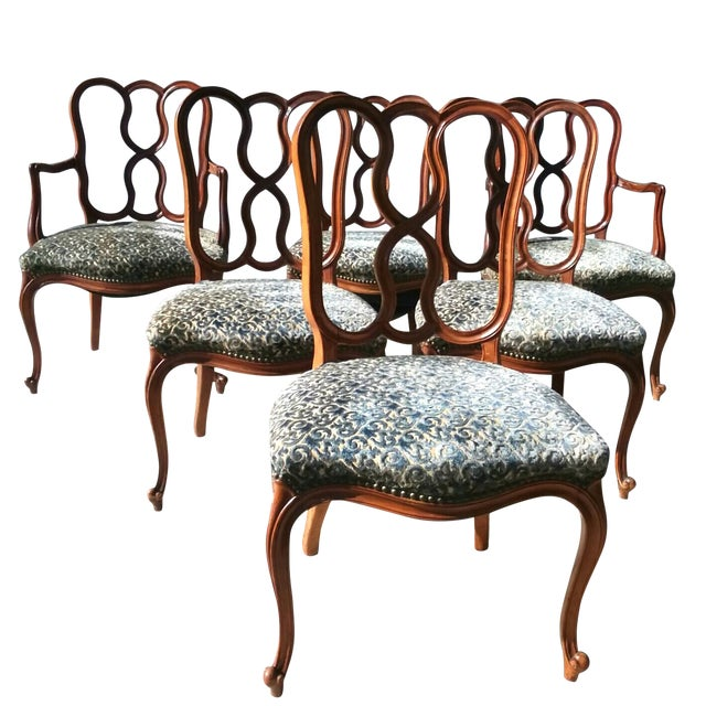 Early 20th Century Vintage Louis XV French Ribbon Back Chairs - Set of 6 For Sale