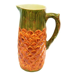 Vintage Majolica Style Handpainted Pineapple Pitcher