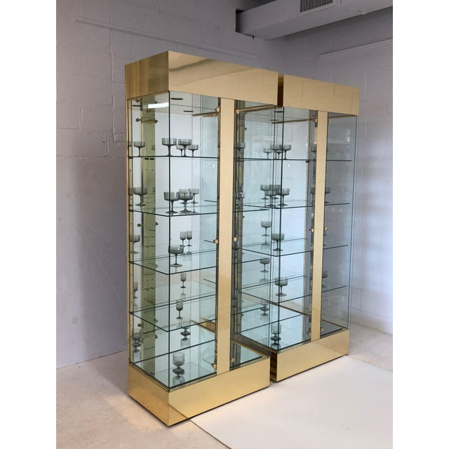 Pair of Lighted Brass and Glass Curios/ Display Cabinets For Sale - Image 4 of 9