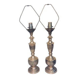 Vintage Mid-Century Modern Chinoiserie Brass Table Lamps For Sale