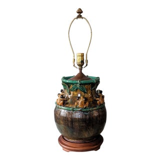Vintage Majolica Pottery Frog Vase Lamp For Sale