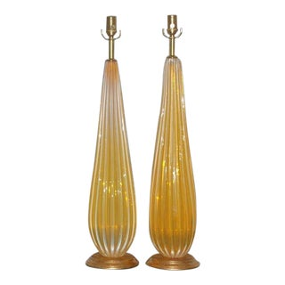 Orange Opaline Vintage Murano Lamps For Sale