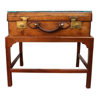 English Leather Suitcase on Stand For Sale