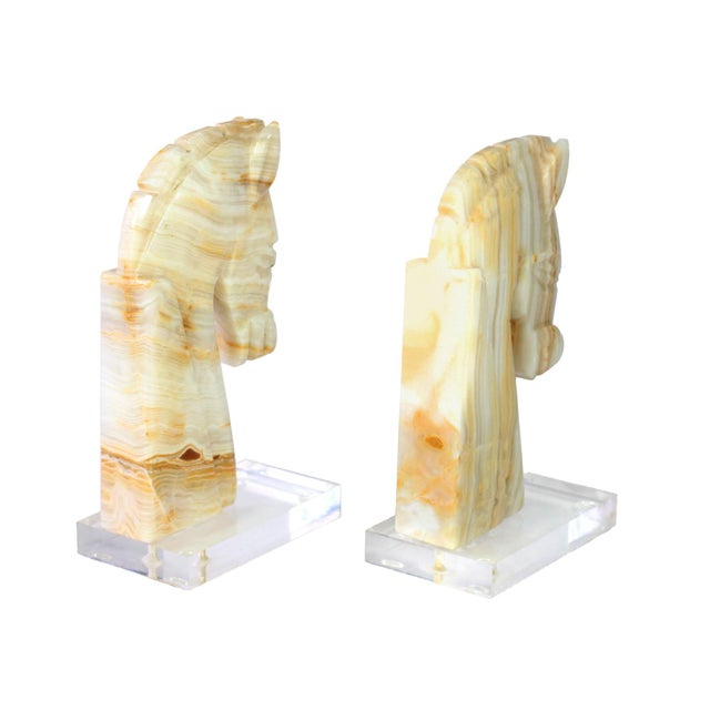 Mid-Century Modern Mid-Century Mod Customized Carved Onyx & Lucite Art Deco Horse Bookends - a Pair For Sale - Image 3 of 5