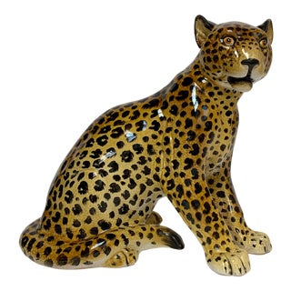 Manlio Trucco Italian Terra Cotta Large Leopard Figure For Sale