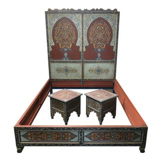Custom Monumental Moroccan Queen Bed Frame + Night Stands For Sale