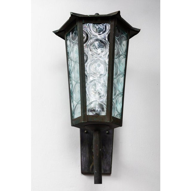 Green 1950s Large Scandinavian Outdoor Wall Lights in Patinated Copper and Glass - a Pair For Sale - Image 8 of 13