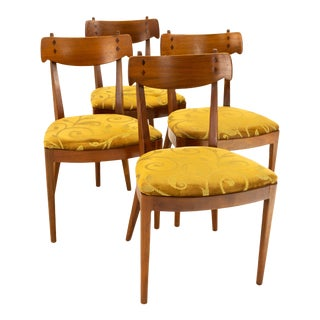 Kipp Stewart for Drexel Mid Century Walnut Dining Chairs - Set of 4 For Sale